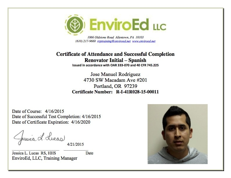Manuel Rodriquez Lead Certification